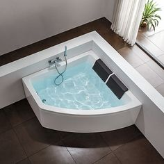 Corner bath- this pic makes it look tiny though. I love that it's by a big open window/door but it would have to be a BIG tub Jacuzzi Bathroom, Small Bathroom, Boho Bathroom, Bad Inspiration, Bathroom Inspiration, Bathroom Interior Design, Decor Interior Design, Shower Over Bath, Modern Bathrooms