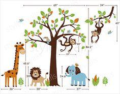 Children Wall Decal Safari tree decal Jungle by styleywalls $185.00  sc 1 st  Pinterest & Safari Jungle Animals Wall Decal Safari Tree Set Wall Decal Sticker ...