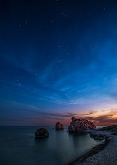 "Aphrodite's rock or ""Petra tou Romiou"" at Paphos coast, Cyprus. According to Greek mythology this is the place where the goddess Aphrodite came to life out of the foam of the waves."