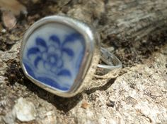 Broken China Ring Chaney Sterling Silver Blue by MaroonedJewelry