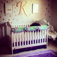 Purple and Gold Baby Nursery. Caden Lane Bedding