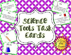 This unique set of task cards starts your science students off with the basic knowledge of identifying what common science tools look like and helps them understand what each is for. The sets highlight the following science tools: goggles, triple beam balance, flask, beaker, graduated cylinder, test tube, hot plate, Bunsen burner, medicine dropper, & magnifying glass.   $