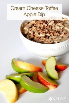 Cream cheese toffee apple dip - 1 package 8 oz soft cream cheese,1/2 cup packed brown sugar, 1/4 c. sugar, 1 tsp. vanilla, Toffee chips, sliced apples+