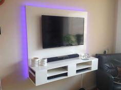 DIY floating TV cabinet 'Penelope' made by Floating Tv Stand, Diy Furniture Plans, Living Room Makeover, Floating, Hanging Tv, Cabinet Furniture Plans, Floating Cabinets, Tv Wall Decor, Tv Cabinet Design