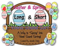 Easter (Spring) Basket Long and Short Vowel Sounds Sorting Center ~100 Pictures To Sort!~ from Teachers Treasure Chest on TeachersNotebook.com (24 pages)  - HOP on over for some fun and seasonal short and long vowel sound sorting practice!