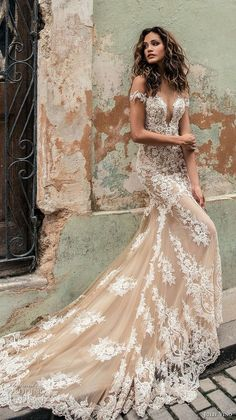 julie vino fall 2018 havana off the shoulder deep plunging sweetheart neckline full embellishment elegant sexy blush color fit and flare wedding dress razor back chapel train (4) mv -- Julie Vino Fall 2018 Wedding Dresses