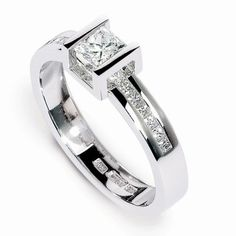 Buy White Gold Box Highlight Diamond Engagement Ring online, part of Martin & Co's exclusive range of Jewellery. Engagement Rings Uk, Princess Cut Engagement Rings, Designer Engagement Rings, Wedding Ring For Her, Diamond Wedding Rings, Diamond Bands, Wedding Bands, Wedding Ring Designs, Wedding Jewelry Sets