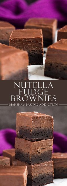 Nutella Fudge Brownies | http://marshasbakingaddiction.com /marshasbakeblog/