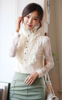 Stand Collar Single Breast Flower Pattern Soft Lace Long Sleeve Women Blouse