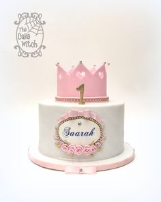 Princess cake with crown, white, pink and gold