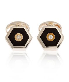 Silver Onyx and Diamond Hexagonal Cufflinks #cufflink #cufflinks #gentleman #hautejoaillerie #luxury #mensgifts #giftsformen