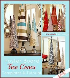 Fabric covered poster board tree cones for the holidays.  Link to template that has 5 sizes of cones on it. {The Creativity Exchange}