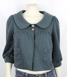 Aqua Teal Green Lightweight Half Sleeve Button Blazer Jacket Size Small #Aqua #BasicJacket