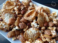 This big game bites snack mix is the perfect combination of sweet and salty with just the right amount of heat. Great for snacking at your Super Bowl party. Snack Mix Recipes, Appetizer Recipes, Snack Mixes, Appetizers, Game Day Snacks, Game Day Food, Super Bowl Time, Salted Caramel Popcorn, Food Dishes