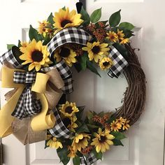 Everyday Wreath, Sunflower Wreath, Everyday Grapevine Wreath, Farmhouse Wreath, Buffalo Check Wreath - Lilly is Love Diy Spring Wreath, Spring Door Wreaths, Holiday Wreaths, Winter Wreaths, Thanksgiving Wreaths, Sunflower Wreaths, Floral Wreaths, Yarn Wreaths, Burlap Wreaths