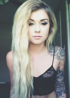 Cute Blonde Tattoo Arm - http://prettygirlytattoos.com/cute-blonde-tattoo-arm/