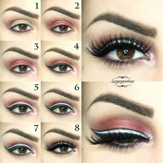 Tutorial to create this original red eye make up with a triple winged line, black and white.