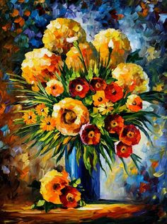 FLOWERS OF HAPPINESS - Palette knife Oil Painting  on Canvas by Leonid Afremov