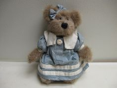 "BOYDS BEAR BETHANY THISTLEBEARY 6"" BLUE DRESS, PANTS AND BOW 913955 #Boyds"