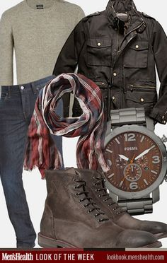 """Keep it rugged... Sweater: All Saints Jeans: J Brand Scarf: Banana Republic (what's up with all the scarfs in """"men's"""" clothes?) Jacket: Coach  Shoes: Alexander McQueen via Mr. Porter Watch: Fossil"""