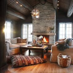 Cozy livingroom - Architecture and Home Decor - Bedroom - Bathroom - Kitchen And Living Room Interior Design Decorating Ideas - Cabin Homes, Log Homes, Sweet Home, Interior Exterior, Room Interior, Foyers, Cozy House, Hygge, Home And Living