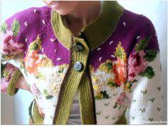 Super boho reconstructed sweater flowered cotton by AlexandraFamer, €65.00