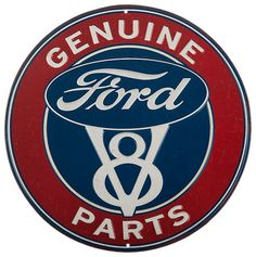 Genuine Ford Parts Round Tin Metal Sign Garage Ad Made In USA