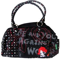 Ruby Gloom Pattern Black Shoulder Bag | Gothic Clothing | Emo clothing... ❤ liked on Polyvore