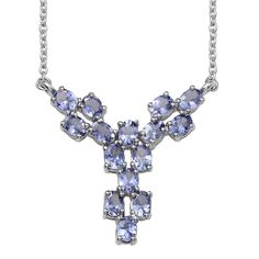 Tanzanite Platinum Over Sterling Silver Necklace (18 in) TGW 2.850 cts.