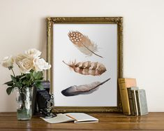 PRINTABLE Art Watercolor Feathers Brown by WishfulPrinting on Etsy