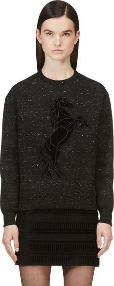 Stella Mccartney: Black Velvet Horse Pullover