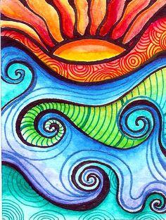 #sol #olas #colores #pintura