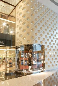Exterior to prada store, ifc mall, shanghai shop front design, retail interior,