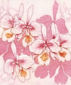 Etching/Intaglio - Pink Orchids by Helen Parkinson