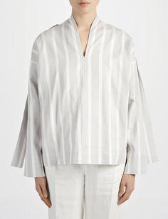 Wide Stripe Shirting Denver Blouse alternative image