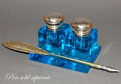 Antique Electric Blue Glass Inkwell Inkstand