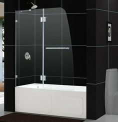 DreamLine Aqua Lux Clear Glass and Brushed Nickel Bathtub Shower Door collection offers unique European design combined with flexible installation options and a superior value Bathtub With Glass Door, Bathtub Shower Doors, Glass Doors, Glass Panel Wall, Glass Panels, Contemporary Shower Doors, Dreamline Shower, Curved Glass, Custom Glass