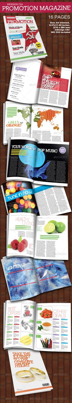 Promotion Magazine 16 Pages - Magazine Template InDesign INDD. Download here: http://graphicriver.net/item/promotion-magazine-16-pages/226572?s_rank=1588&ref=yinkira