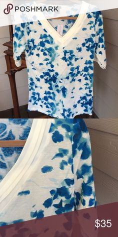 Ann Taylor 100% Rayon top.  Size Medium Ann Taylor very soft top (100% Rayon), with a beautiful pattern.  Short sleeves.  New with tags Ann Taylor Tops