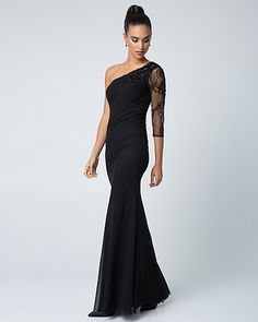 Beaded Mesh & Knit One Shoulder Gown | LE CHÂTEAU