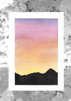 Yellow and Orange Sunset Watercolour Art Print- Landscape Painting - Traditional Art - Simple Canvas Paintings, Easy Canvas Art, Small Canvas Art, Canvas Painting Sunset, Painting Art, Oil Painting Easy, Watercolor Sunset, Watercolor Trees, Simple Watercolor