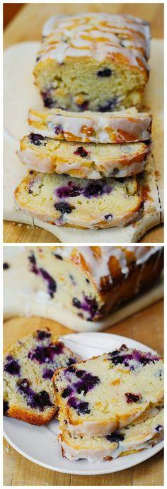 Blueberry vanilla bread with lemon glaze ~ My Food'n Drink