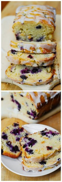 Blueberry vanilla bread with lemon glaze ~ My Food'n Drink