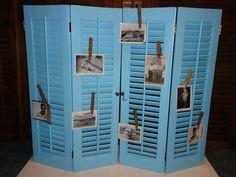 Set Of Vintage Wooden Adjustable Louver Window Shutters- Wonderful Satin Aqua…