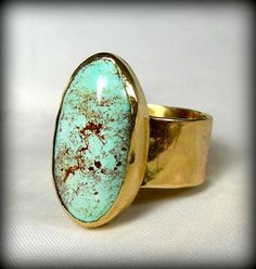 RESERVED FOR M Turquoise  Solid Gold  ring Gemstone by Marajoyce