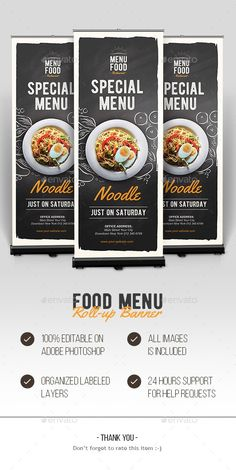 Buy Food Roll-up Banner by Graphr on GraphicRiver. Food Roll-up Banner Specification: CMYK Color Mode 300 DPI Resolution Size x Bleeds ditable Text Lay. Food Graphic Design, Food Menu Design, Food Poster Design, Restaurant Menu Design, Xbanner Design, Restaurant Identity, Restaurant Restaurant, Rollup Design, Rollup Banner Design