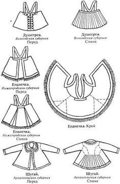 Dushigreya, Basque, coat, whiling away, epanechka Folk Fashion, Ethnic Fashion, Fashion Dolls, Historical Costume, Historical Clothing, Costume Russe, Sewing Paterns, Ethno Style, Russian Folk Art