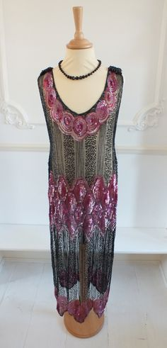 1920's silk tulle beaded flapper dress with sequins and beadwork....Beautiful!