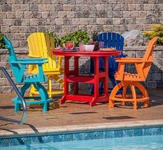 Make a big splash at the pool by adding a big splash of color with this round Rose table and chairs from Berlin Gardens. #housetrends http://www.kauffmanlawnfurniture.com/round-rose-dining-table/