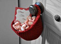 Extra Deep Red Hanging Bin Holiday Decor Hostess Gift Office Organizer Doorknob Catchall Crocheted Decor Storage Basket